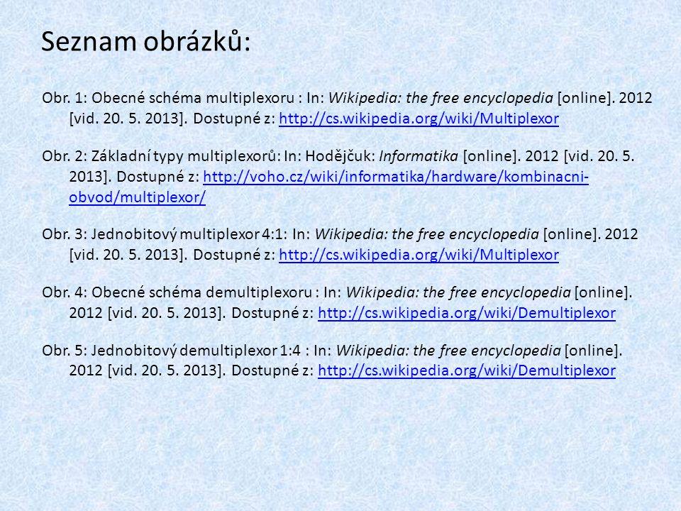 Seznam obrázků: Obr. 1: Obecné schéma multiplexoru : In: Wikipedia: the free encyclopedia [online]. 2012 [vid. 20. 5. 2013]. Dostupné z: http://cs.wik