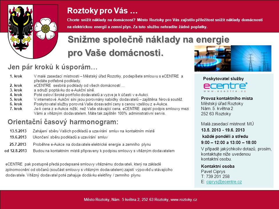 Město Roztoky, Nám. 5 května 2, 252 63 Roztoky, www.roztoky.cz Snižme společně náklady na energie pro Vaše domácnosti. 1. krokV malé zasedací místnost