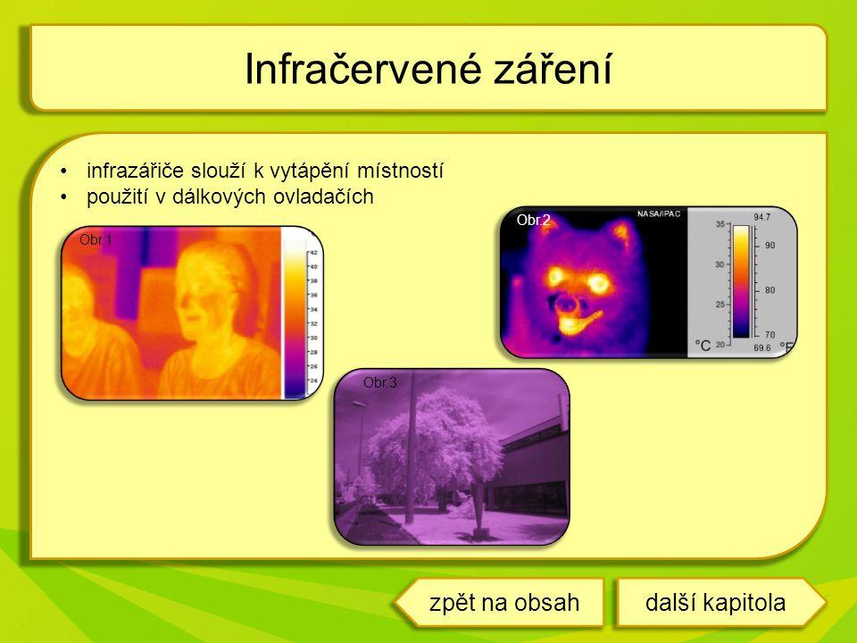 infrazářiče slouží k vytápění místností použití v dálkových ovladačích Infračervené záření Obr.1 Obr.3 Obr.2 další kapitolazpět na obsah