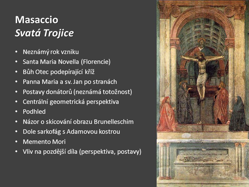 Masaccio Svatá Trojice Neznámý rok vzniku Santa Maria Novella (Florencie) Bůh Otec podepírající kříž Panna Maria a sv.