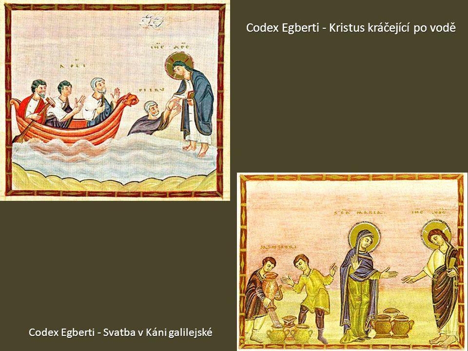 Codex Egberti - Kristus kráčející po vodě Codex Egberti - Svatba v Káni galilejské