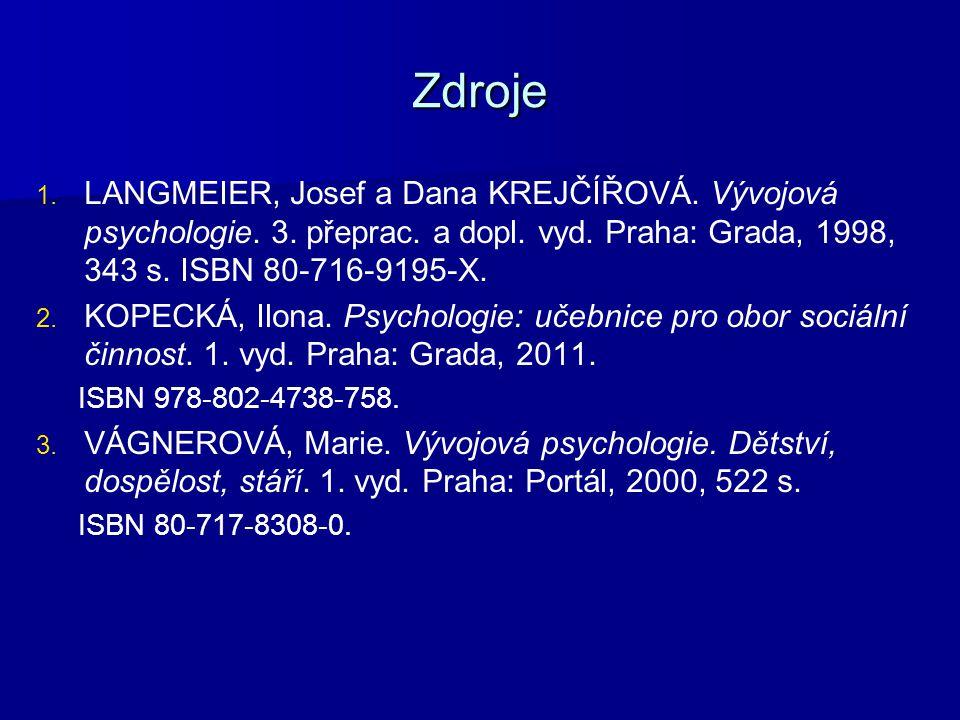 Zdroje 1. 1. LANGMEIER, Josef a Dana KREJČÍŘOVÁ. Vývojová psychologie. 3. přeprac. a dopl. vyd. Praha: Grada, 1998, 343 s. ISBN 80-716-9195-X. 2. 2. K