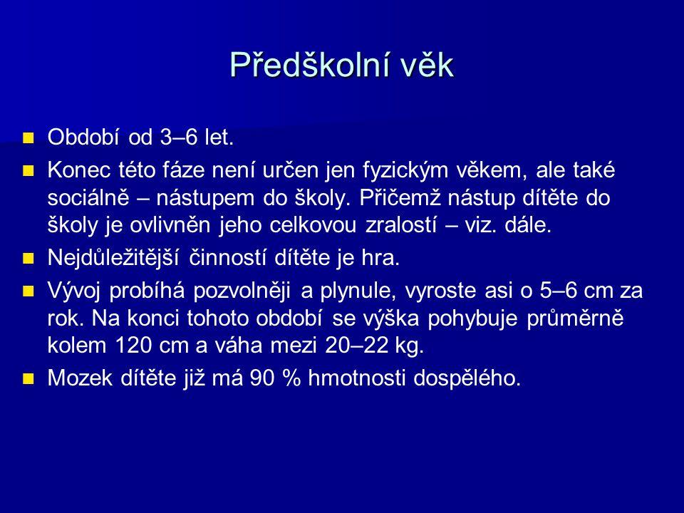 Předškolní věk Období od 3–6 let.