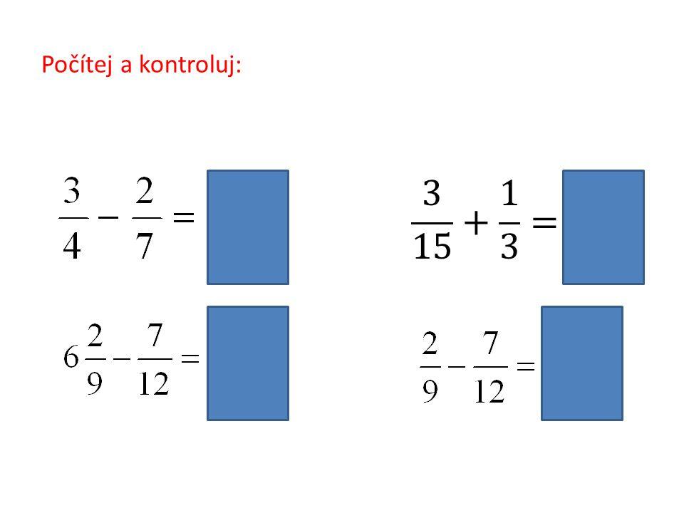 Příklady k procvičení 1: Vypočítej a barevně rozliš kladný a záporný výsledek.