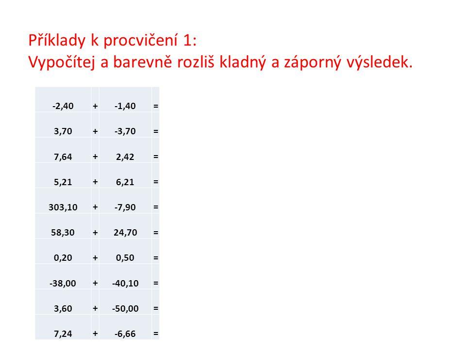 Příklady k procvičení 1: Vypočítej a barevně rozliš kladný a záporný výsledek. -2,40 +-1,40 = 3,70 +-3,70 = 7,64 +2,42 = 5,21 +6,21 = 303,10 +-7,90 =