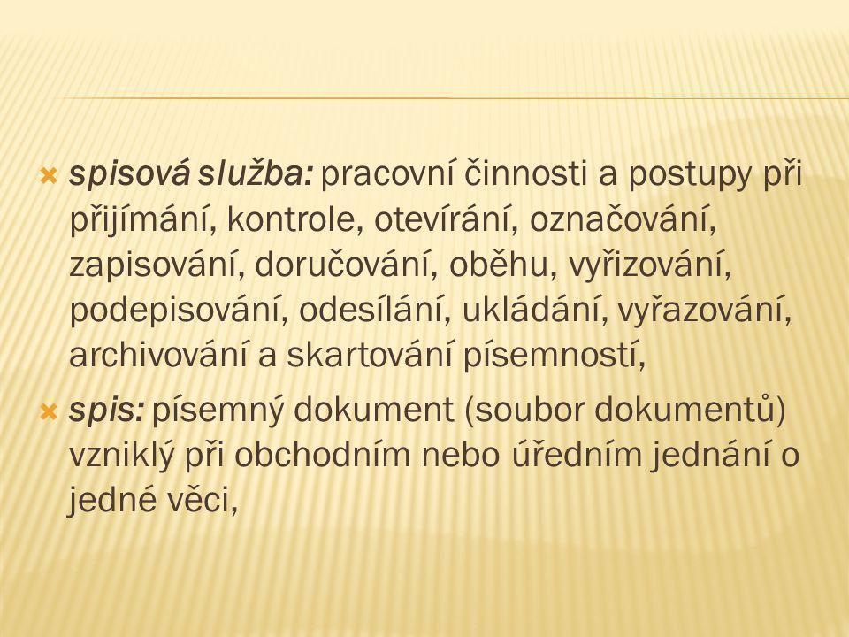3.Co patří do oběhu písemností.1. doručování, 2.