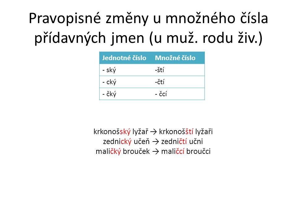 Pravopisné změny u množného čísla přídavných jmen (u muž.
