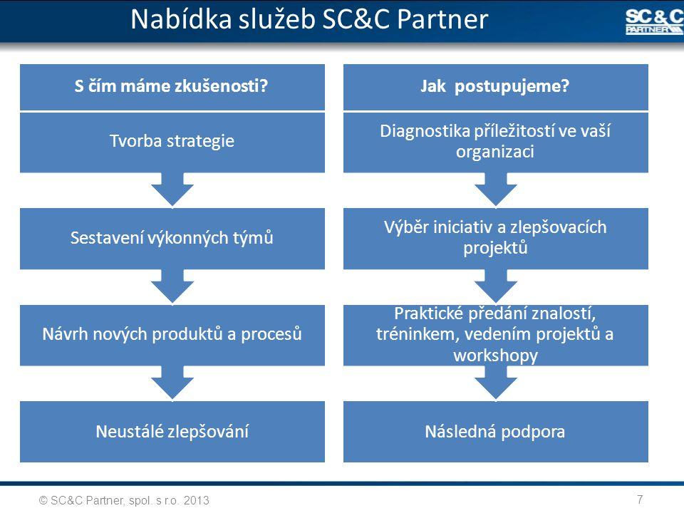7 Neustálé zlepšování Návrh nových produktů a procesů Sestavení výkonných týmů Tvorba strategie S čím máme zkušenosti? Následná podpora Praktické před