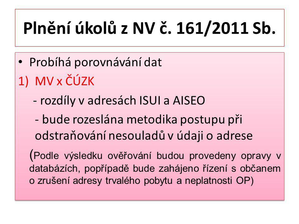 Plnění úkolů z NV č.161/2011 Sb.