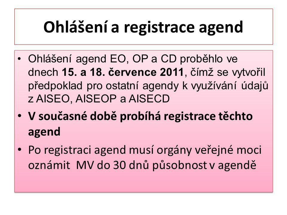 Ohlášení a registrace agend Ohlášení agend EO, OP a CD proběhlo ve dnech 15.