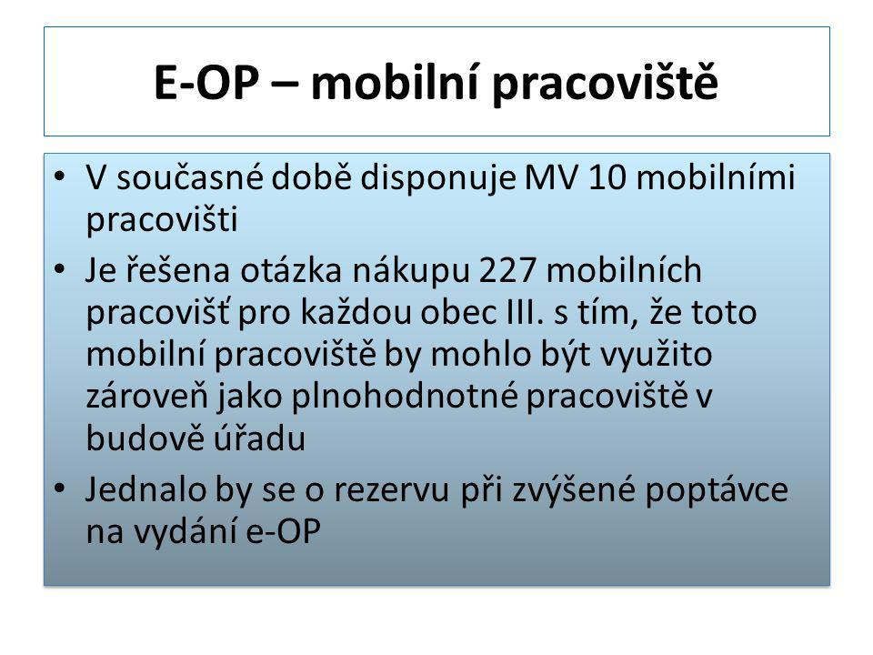 E-OP – mobilní pracoviště V současné době disponuje MV 10 mobilními pracovišti Je řešena otázka nákupu 227 mobilních pracovišť pro každou obec III.