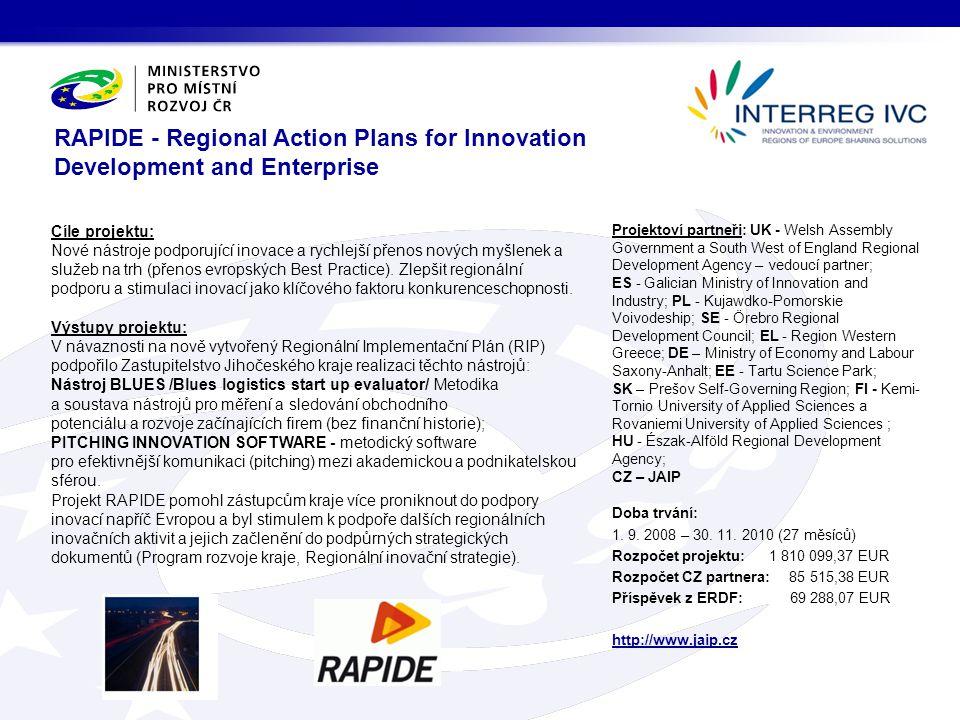 Cíle projektu: Nové nástroje podporující inovace a rychlejší přenos nových myšlenek a služeb na trh (přenos evropských Best Practice). Zlepšit regioná