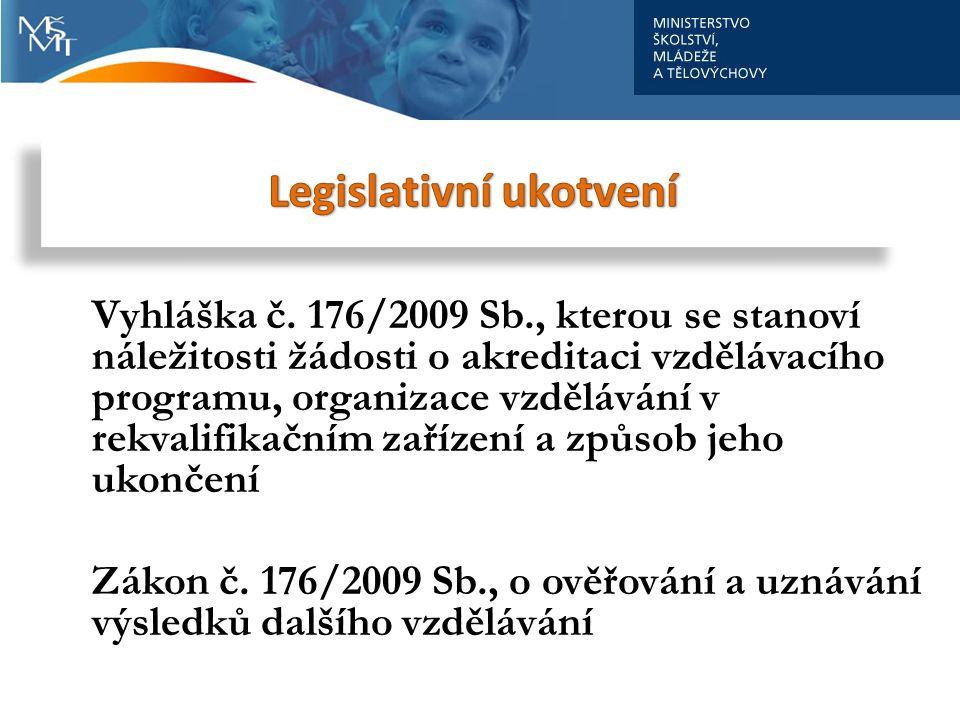 . Vyhláška č. 176/2009 Sb., kterou se stanoví náležitosti žádosti o akreditaci vzdělávacího programu, organizace vzdělávání v rekvalifikačním zařízení