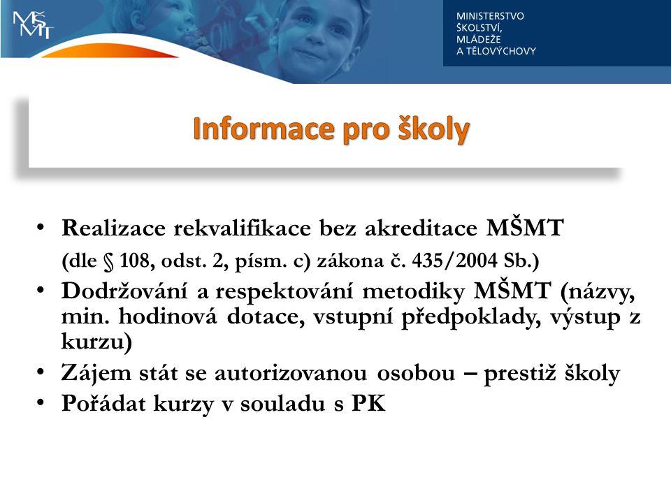 Školy Realizace rekvalifikace bez akreditace MŠMT (dle § 108, odst. 2, písm. c) zákona č. 435/2004 Sb.) Dodržování a respektování metodiky MŠMT (názvy
