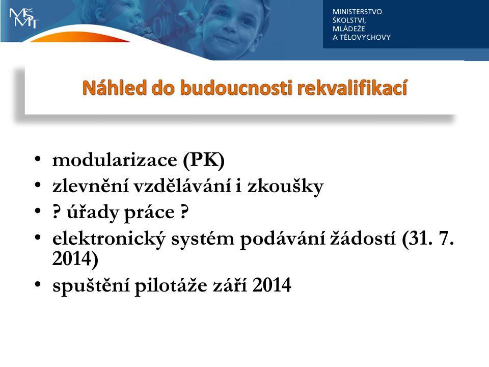 modularizace (PK) zlevnění vzdělávání i zkoušky ? úřady práce ? elektronický systém podávání žádostí (31. 7. 2014) spuštění pilotáže září 2014