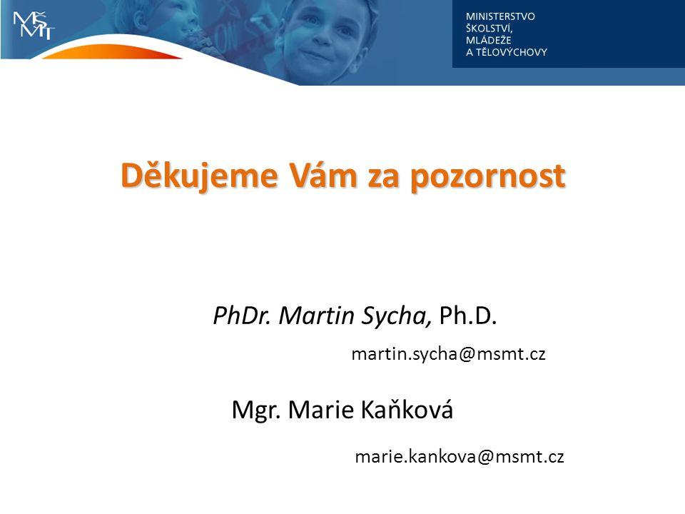 Děkujeme Vám za pozornost Děkujeme Vám za pozornost PhDr. Martin Sycha, Ph.D. martin.sycha@msmt.cz Mgr. Marie Kaňková marie.kankova@msmt.cz