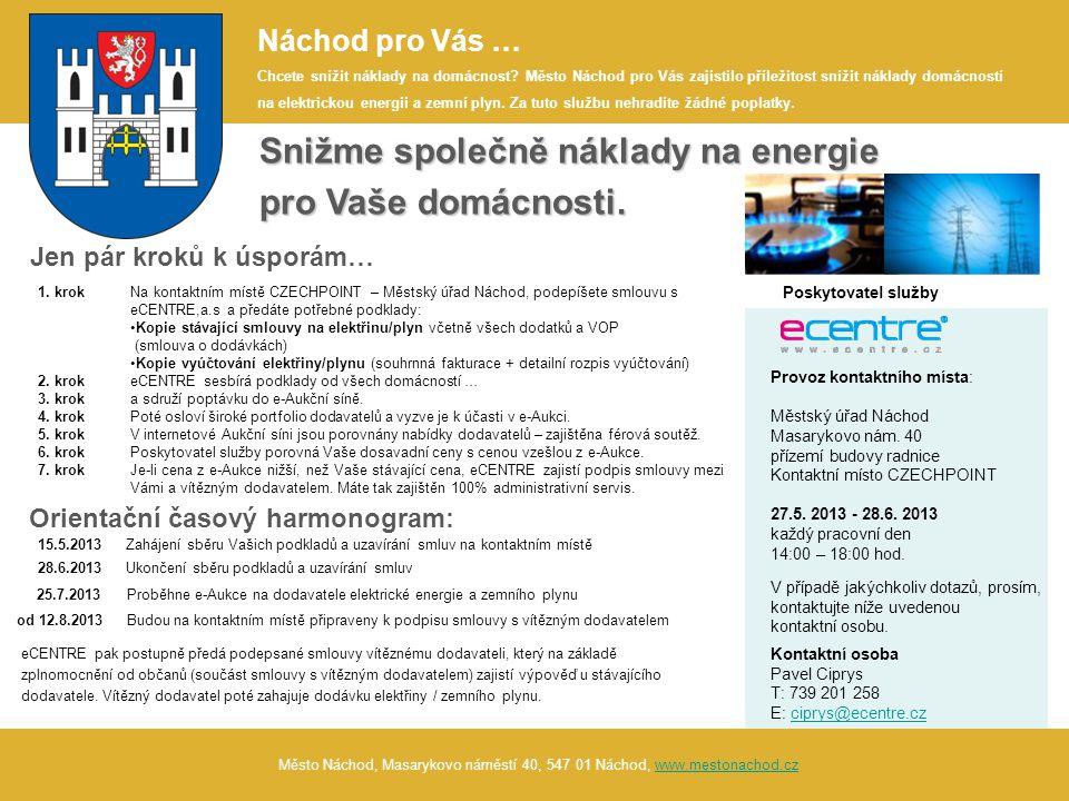 Město Náchod, Masarykovo náměstí 40, 547 01 Náchod, www.mestonachod.czwww.mestonachod.cz Snižme společně náklady na energie pro Vaše domácnosti.