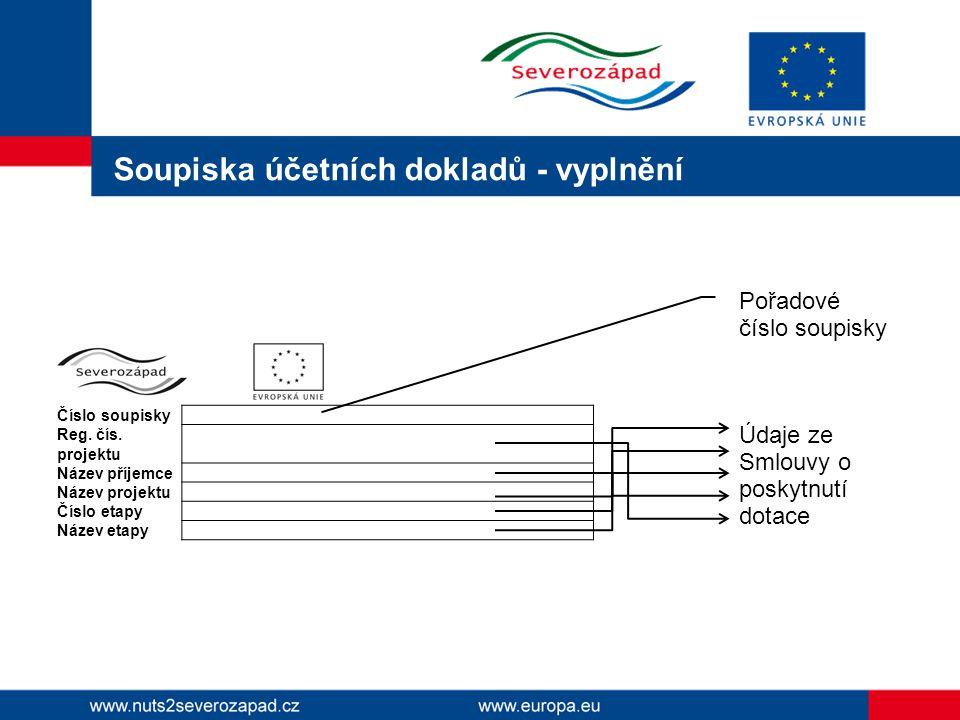 Soupiska účetních dokladů - vyplnění Číslo soupisky Reg.