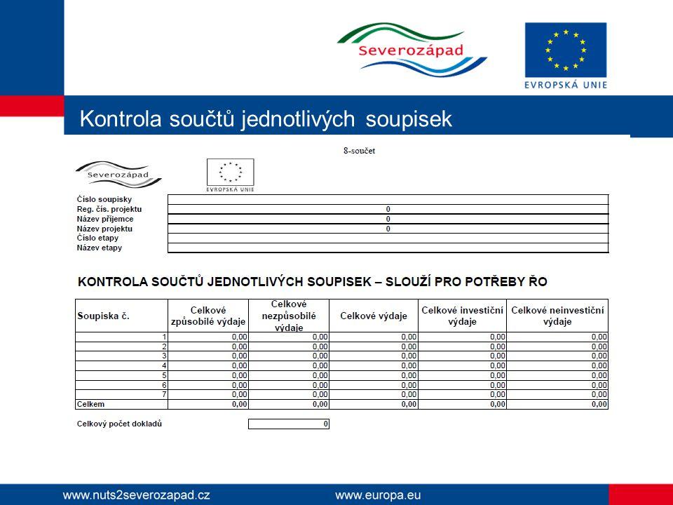 Kontrola součtů jednotlivých soupisek