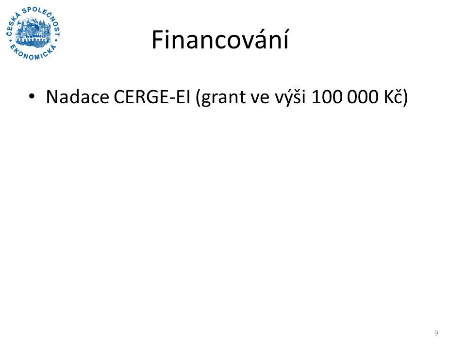 Financování Nadace CERGE-EI (grant ve výši 100 000 Kč) 9