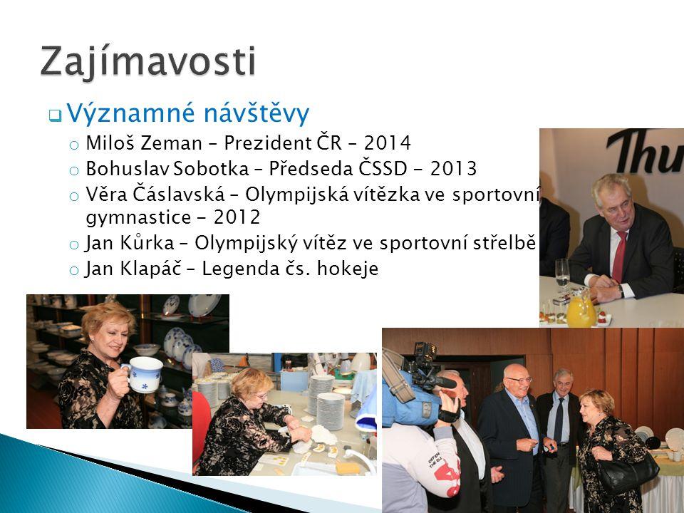  Významné návštěvy o Miloš Zeman – Prezident ČR – 2014 o Bohuslav Sobotka – Předseda ČSSD - 2013 o Věra Čáslavská – Olympijská vítězka ve sportovní g