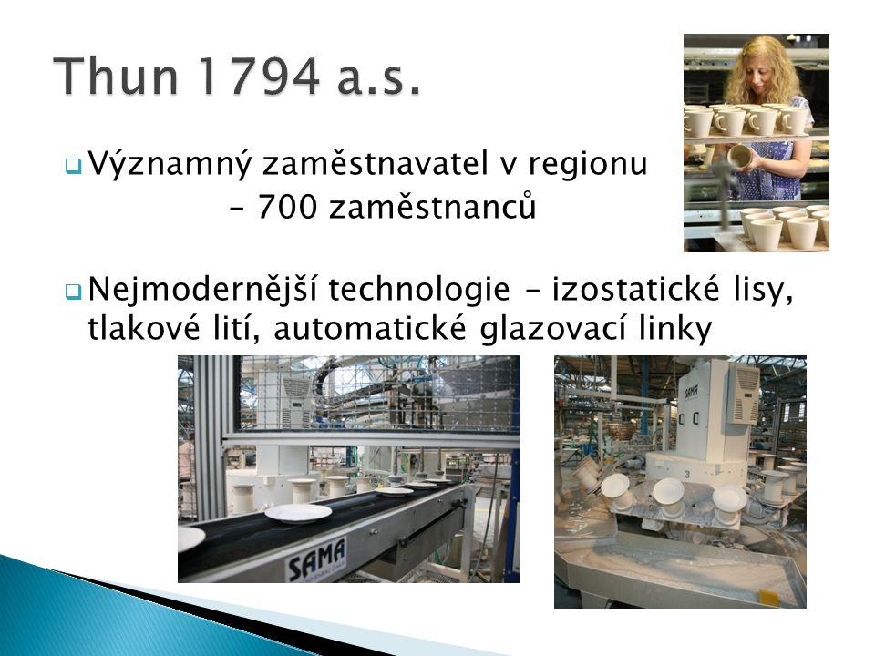  Významný zaměstnavatel v regionu – 700 zaměstnanců  Nejmodernější technologie – izostatické lisy, tlakové lití, automatické glazovací linky