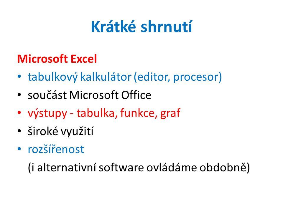 Krátké shrnutí Microsoft Excel tabulkový kalkulátor (editor, procesor) součást Microsoft Office výstupy - tabulka, funkce, graf široké využití rozšířenost (i alternativní software ovládáme obdobně)