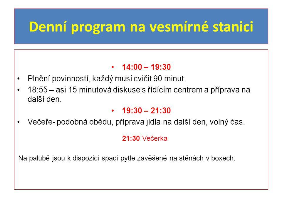 Denní program na vesmírné stanici 14:00 – 19:30 Plnění povinností, každý musí cvičit 90 minut 18:55 – asi 15 minutová diskuse s řídícím centrem a příprava na další den.