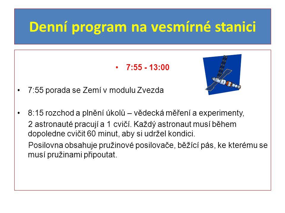 Denní program na vesmírné stanici 7:55 - 13:00 7:55 porada se Zemí v modulu Zvezda 8:15 rozchod a plnění úkolů – vědecká měření a experimenty, 2 astro