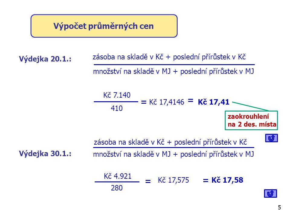 Výpočet průměrných cen zásoba na skladě v Kč + poslední přírůstek v Kč Výdejka 20.1.: Kč 4.921 410 množství na skladě v MJ + poslední přírůstek v MJ = Kč 17,4146 = Kč 17,41 zaokrouhlení na 2 des.
