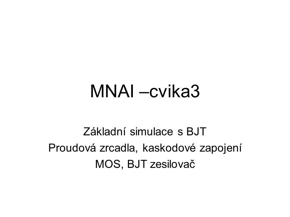 - výstupní soubor - výpis **** BIPOLAR JUNCTION TRANSISTORS NAME Q_Q1 Q_Q2 Q_Q3 MODEL MNAI_PNP MNAI_PNP MNAI_NPN IB -5.96E-07 -5.96E-07 2.96E-07 IC -2.91E-05 -2.98E-05 2.98E-05 VBE -6.65E-01 -6.65E-01 6.65E-01 VBC 0.00E+00 6.59E-01 -1.01E+00 VCE -6.65E-01 -1.32E+00 1.68E+00 BETADC 4.89E+01 5.00E+01 1.01E+02 GM 1.12E-03 1.15E-03 1.15E-03 RPI 4.34E+04 4.34E+04 8.73E+04 RX 0.00E+00 0.00E+00 0.00E+00 RO 1.01E+06 1.01E+06 2.03E+06 CBE 1.44E-11 1.47E-11 1.47E-11 CBC 2.00E-12 1.62E-12 1.51E-12 CJS 0.00E+00 0.00E+00 0.00E+00 BETAAC 4.88E+01 4.99E+01 1.00E+02 CBX/CBX2 0.00E+00 0.00E+00 0.00E+00 FT/FT2 1.09E+07 1.12E+07 1.13E+07 **** SMALL-SIGNAL CHARACTERISTICS V(OUT)/V_V2 = -7.740E+02 INPUT RESISTANCE AT V_V2 = 8.734E+04 OUTPUT RESISTANCE AT V(OUT) = 6.727E+05 JOB CONCLUDED