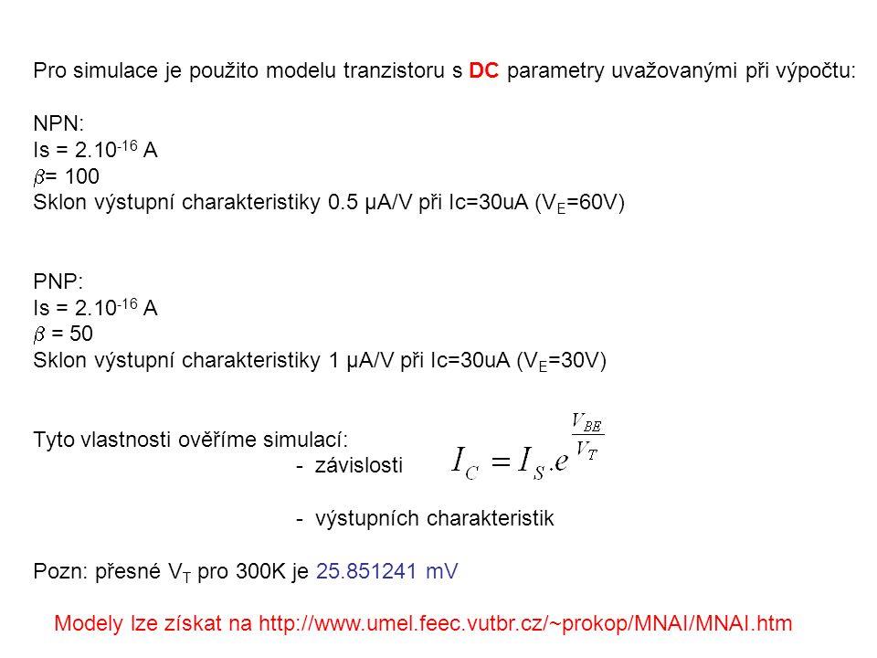 Pro simulace je použito modelu tranzistoru s DC parametry uvažovanými při výpočtu: NPN: Is = 2.10 -16 A  = 100 Sklon výstupní charakteristiky 0.5 μA/