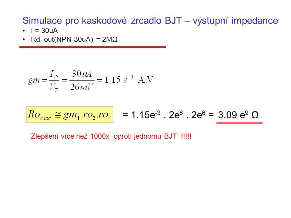 Simulace pro kaskodové zrcadlo BJT – výstupní impedance I = 30uA Rd_out(NPN-30uA) = 2MΩ = 1.15e -3. 2e 6. 2e 6 = 3.09 e 9 Ω Zlepšení více než 1000x op