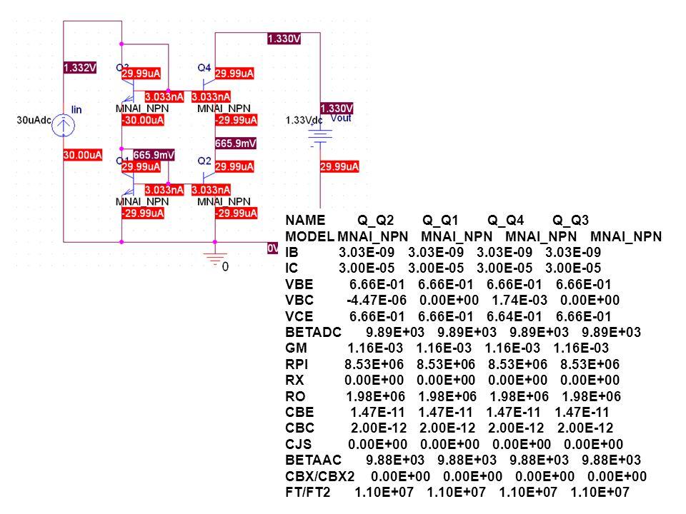 NAME Q_Q2 Q_Q1 Q_Q4 Q_Q3 MODEL MNAI_NPN MNAI_NPN MNAI_NPN MNAI_NPN IB 3.03E-09 3.03E-09 3.03E-09 3.03E-09 IC 3.00E-05 3.00E-05 3.00E-05 3.00E-05 VBE 6