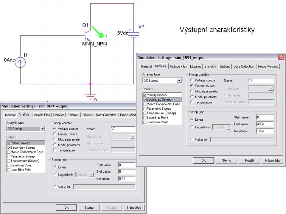 Výstupní charakteristiky (pro 30 μA  Rout = 1 / 498.056n = 2.0078 MΩ  = Ic / IB ≈ 30 μA / 300 nA = 100