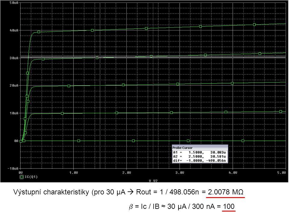 I2 - Ideální zdroj proudu I3 || Rin – zdroj s výstupním odporem 2 MΩ – jako předchozí BJT