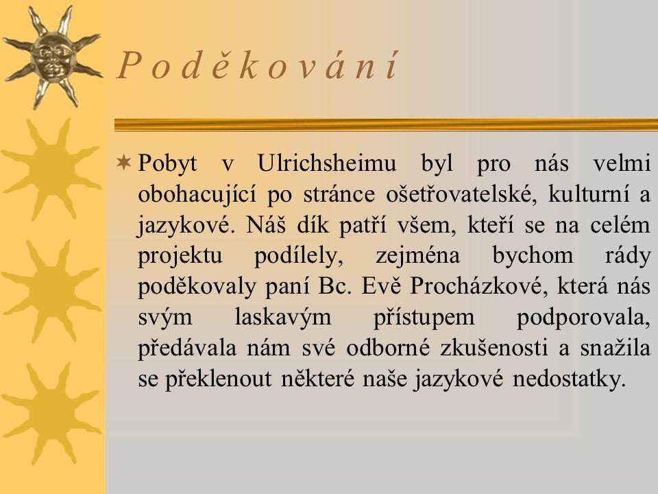 P o d ě k o v á n í  Pobyt v Ulrichsheimu byl pro nás velmi obohacující po stránce ošetřovatelské, kulturní a jazykové.