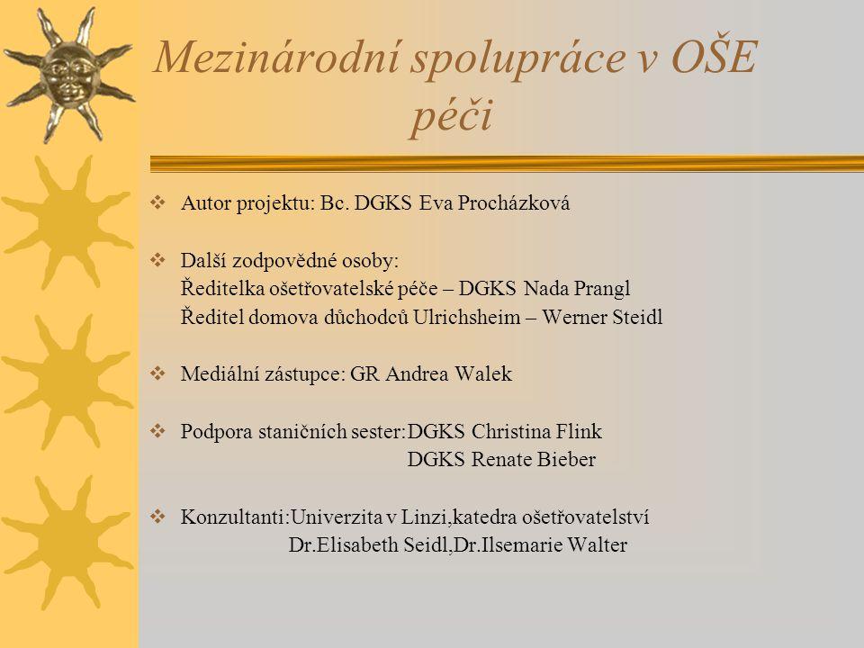 Mezinárodní spolupráce v OŠE péči  Autor projektu: Bc.