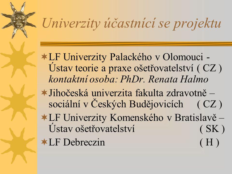 Univerzity účastnící se projektu  LF Univerzity Palackého v Olomouci - Ústav teorie a praxe ošetřovatelství ( CZ ) kontaktní osoba: PhDr.