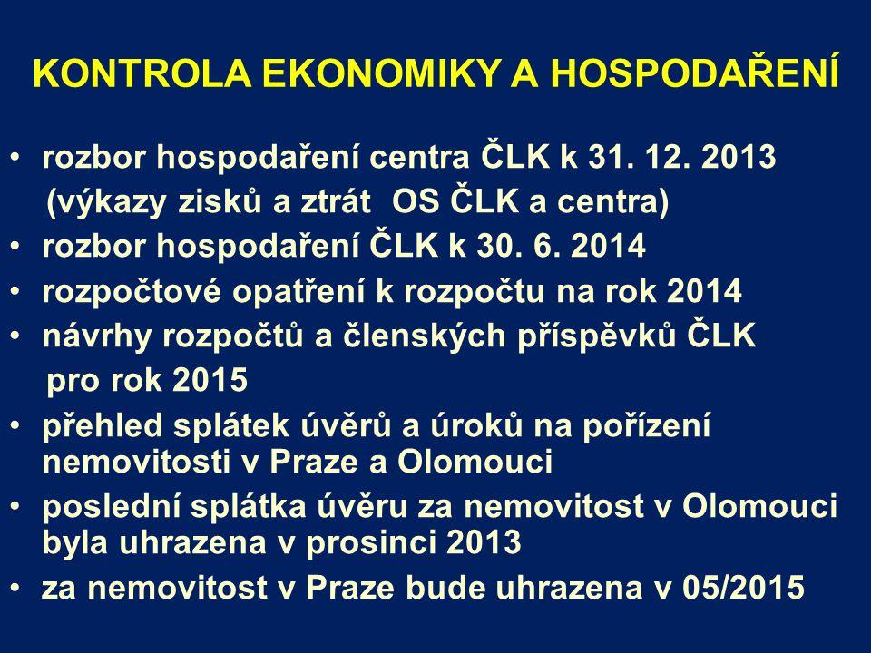 KONTROLA EKONOMIKY A HOSPODAŘENÍ rozbor hospodaření centra ČLK k 31.