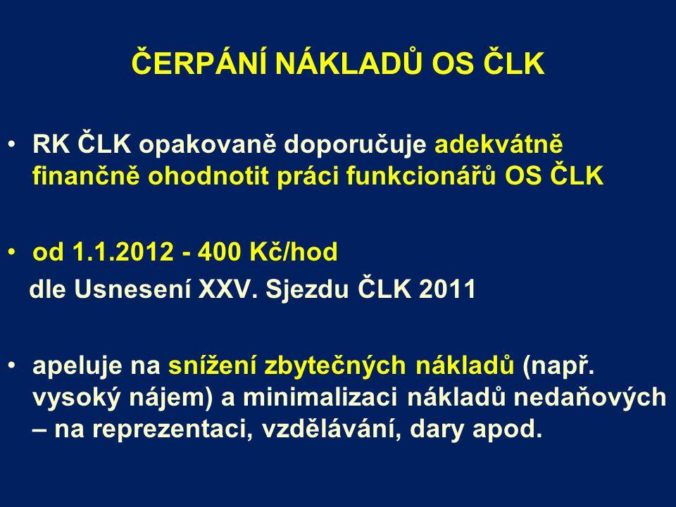 ČERPÁNÍ NÁKLADŮ OS ČLK RK ČLK opakovaně doporučuje adekvátně finančně ohodnotit práci funkcionářů OS ČLK od 1.1.2012 - 400 Kč/hod dle Usnesení XXV.