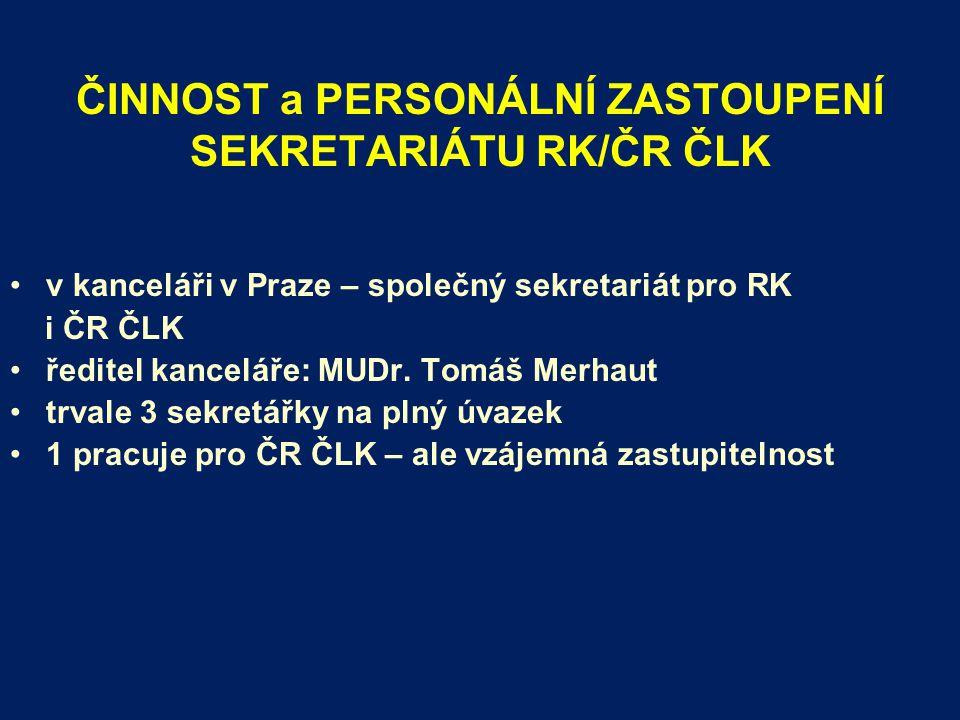 ČINNOST a PERSONÁLNÍ ZASTOUPENÍ SEKRETARIÁTU RK/ČR ČLK v kanceláři v Praze – společný sekretariát pro RK i ČR ČLK ředitel kanceláře: MUDr.