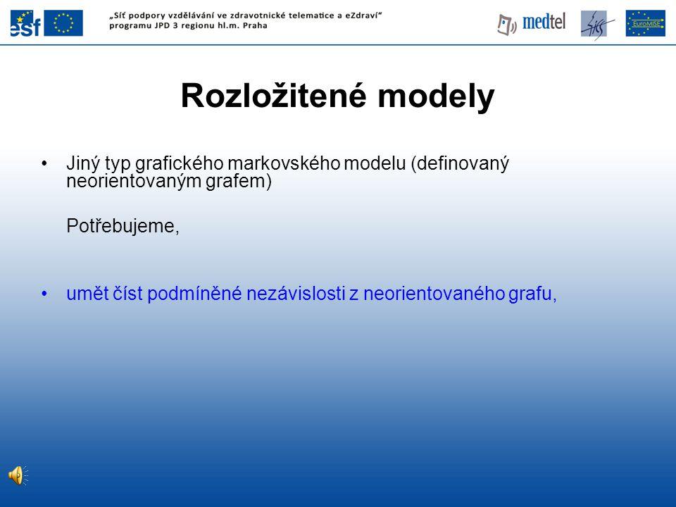 Rozložitené modely Jiný typ grafického markovského modelu (definovaný neorientovaným grafem) Potřebujeme, umět číst podmíněné nezávislosti z neoriento