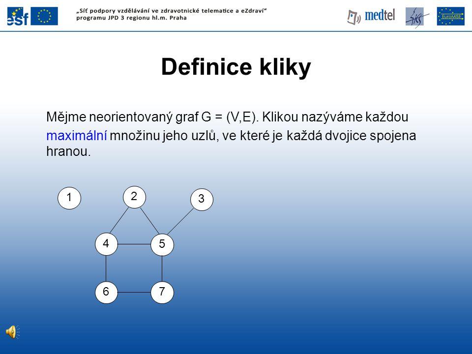 Definice kliky Mějme neorientovaný graf G = (V,E). Klikou nazýváme každou maximální množinu jeho uzlů, ve které je každá dvojice spojena hranou. 1 3 5