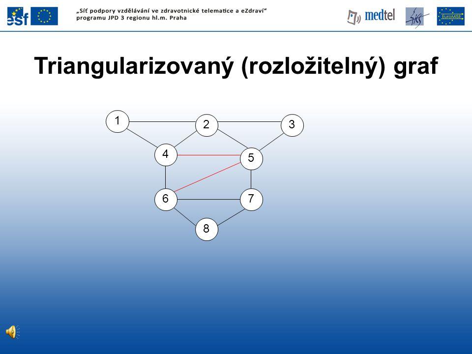 Triangularizovaný (rozložitelný) graf 8 5 7 4 6 3 1 2