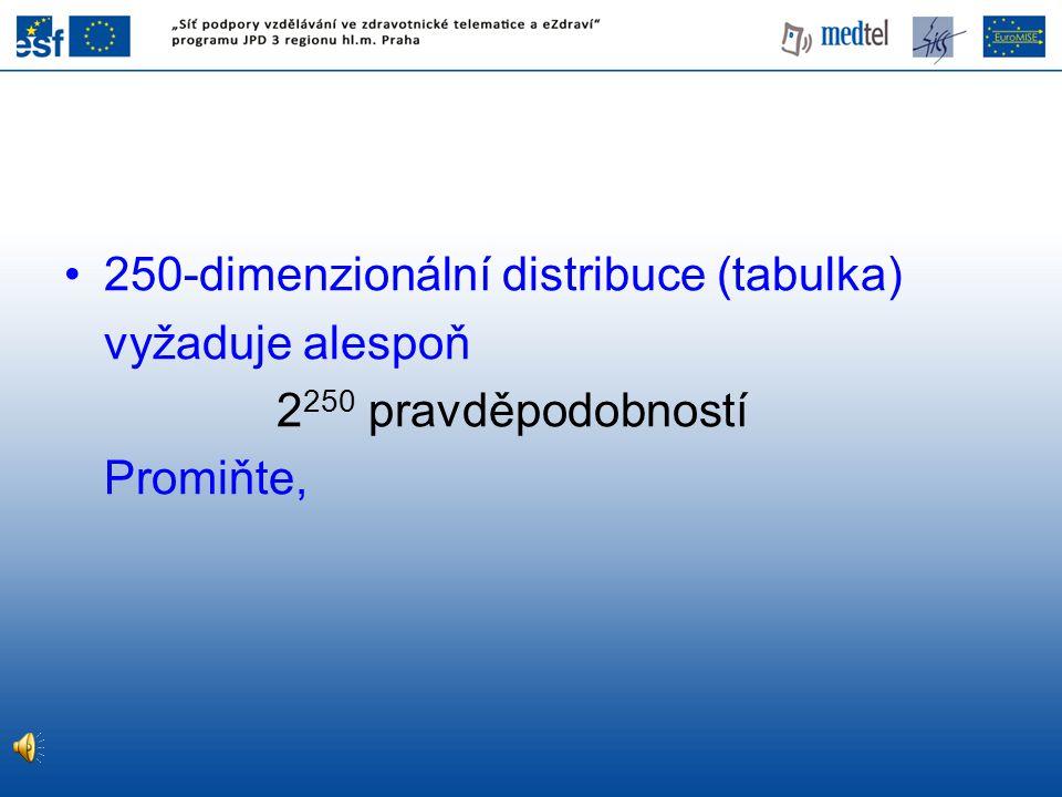 250-dimenzionální distribuce (tabulka) vyžaduje alespoň 2 250 pravděpodobností Promiňte,