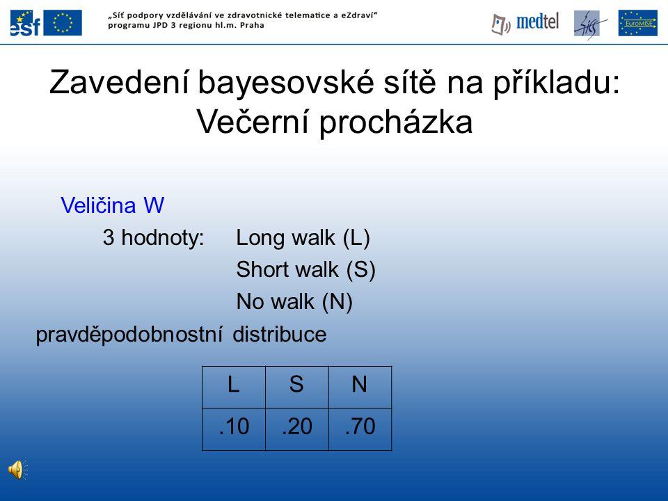 Veličina W 3 hodnoty: Long walk (L) Short walk (S) No walk (N) pravděpodobnostní distribuce LSN.10.20.70 Zavedení bayesovské sítě na příkladu: Večerní
