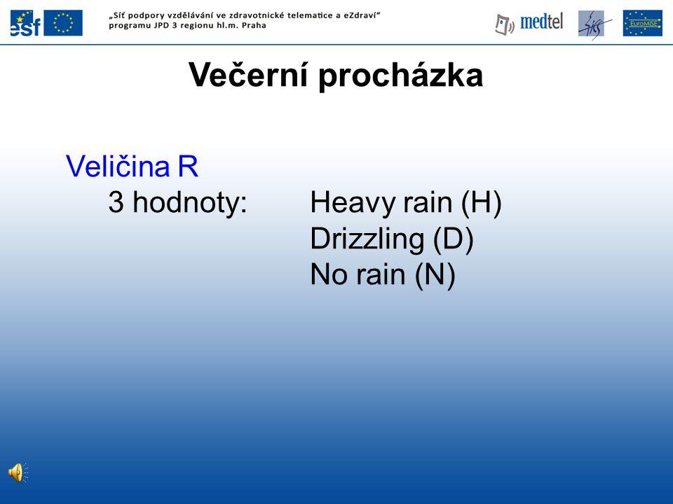 Večerní procházka Veličina R 3 hodnoty: Heavy rain (H) Drizzling (D) No rain (N)