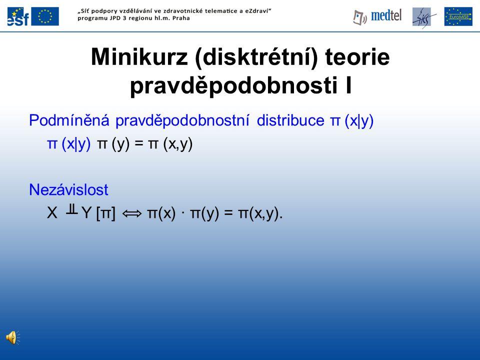 Minikurz (disktrétní) teorie pravděpodobnosti I Podmíněná pravděpodobnostní distribuce π (x|y) π (x|y) π (y) = π (x,y) Nezávislost X ╨ Y [π] π(x) · π(