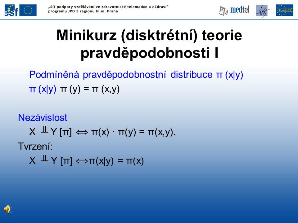 Podmíněná pravděpodobnostní distribuce π (x|y) π (x|y) π (y) = π (x,y) Nezávislost X ╨ Y [π] π(x) · π(y) = π(x,y). Tvrzení: X ╨ Y [π] π(x|y) = π(x) Mi